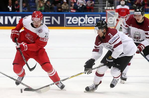 Sport Art Print featuring the photograph 2016 IIHF Ice Hockey World Championship Group Stage: Denmark vs Latvia by Artyom Korotayev