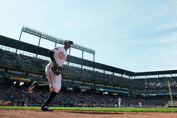 American League Baseball Art Print featuring the photograph Adam Jones by Rob Tringali