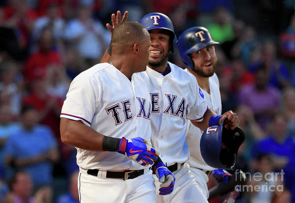 Adrian Beltre Art Print featuring the photograph Adrian Beltre, Elvis Andrus, and Nomar Mazara by Tom Pennington
