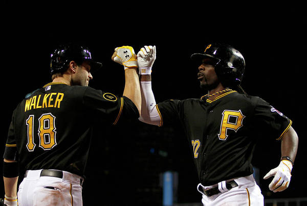 Professional Sport Art Print featuring the photograph Andrew Mccutchen and Neil Walker by Justin K. Aller