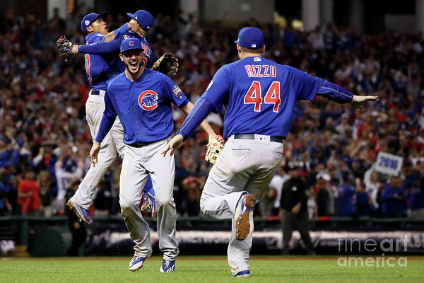 People Art Print featuring the photograph Anthony Rizzo and Kris Bryant by Ezra Shaw