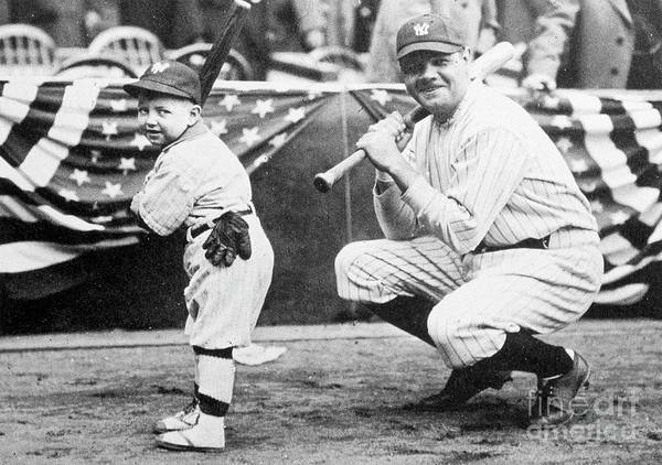 American League Baseball Art Print featuring the photograph Babe Ruth by Transcendental Graphics