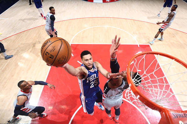 Playoffs Art Print featuring the photograph Ben Simmons by Ned Dishman