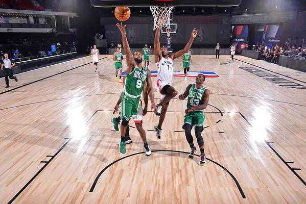 Nba Pro Basketball Art Print featuring the photograph Boston Celtics v Toronto Raptors by Bill Baptist
