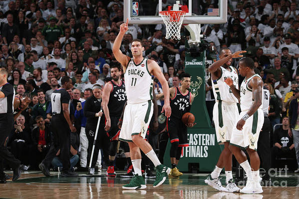 Playoffs Art Print featuring the photograph Brook Lopez by Gary Dineen