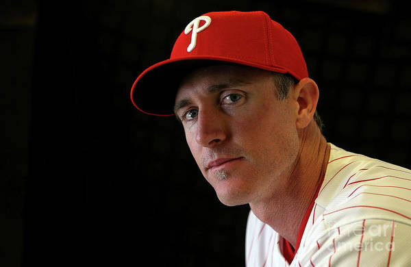 Media Day Art Print featuring the photograph Chase Utley by Mike Ehrmann
