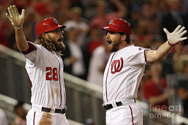 Three Quarter Length Art Print featuring the photograph Daniel Murphy and Jayson Werth by Patrick Smith