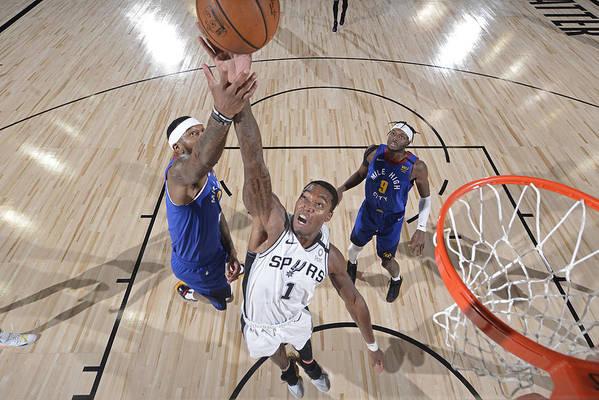 Nba Pro Basketball Art Print featuring the photograph Denver Nuggets v San Antonio Spurs by David Dow