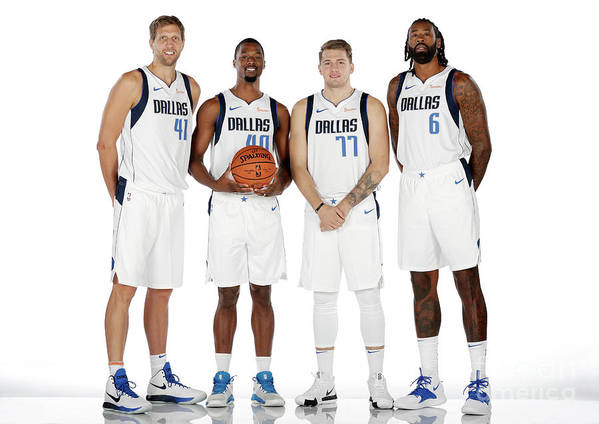 Media Day Art Print featuring the photograph Dirk Nowitzki, Harrison Barnes, and Deandre Jordan by Glenn James