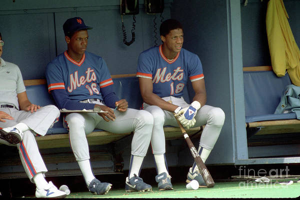 Dwight Gooden Art Print featuring the photograph Dwight Gooden and Darryl Strawberry by George Gojkovich