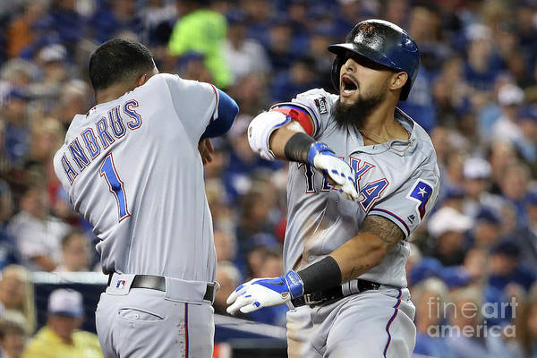 Three Quarter Length Art Print featuring the photograph Elvis Andrus and Rougned Odor by Tom Szczerbowski