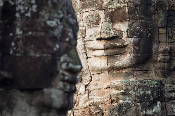 Relief Carving Art Print featuring the photograph face of Bhudha at Bayon temple by Skaman306