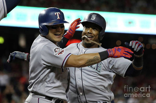 People Art Print featuring the photograph Jean Segura and Shin-soo Choo by Patrick Smith