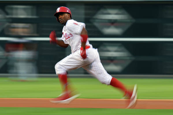 2nd Base Art Print featuring the photograph Jimmy Rollins by Drew Hallowell