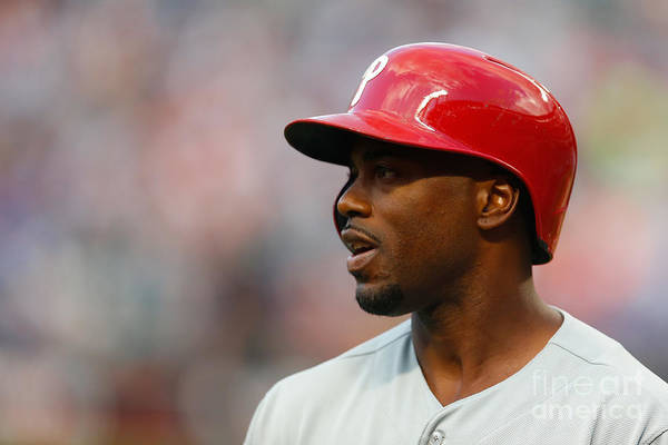 American League Baseball Art Print featuring the photograph Jimmy Rollins by Mike Stobe
