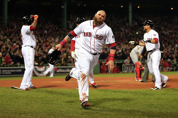 Playoffs Art Print featuring the photograph Jonny Gomes and Shane Victorino by Jamie Squire