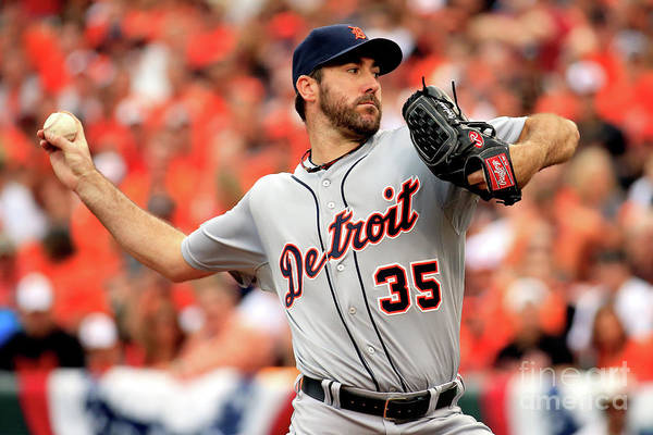 Game Two Art Print featuring the photograph Justin Verlander by Rob Carr