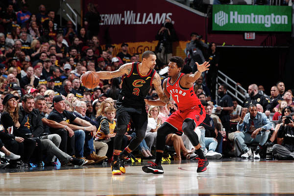 Playoffs Art Print featuring the photograph Kyle Lowry and George Hill by Jeff Haynes
