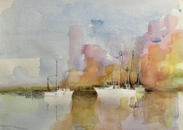 Shrimp Boat Art Print featuring the painting Low Country Shrimpers by Robert Yonke