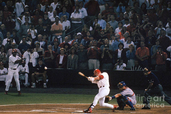 St. Louis Cardinals Art Print featuring the photograph Mark Mcgwire and Roger Maris by Bill Stover