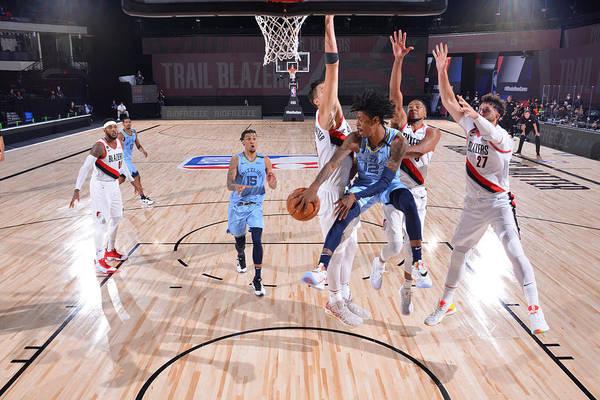 Nba Pro Basketball Art Print featuring the photograph Memphis Grizzlies v Portland Trail Blazers by Jesse D. Garrabrant