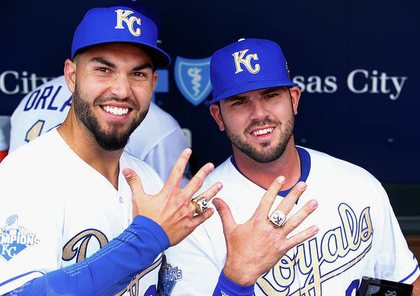 People Art Print featuring the photograph Mike Moustakas and Eric Hosmer by Jamie Squire