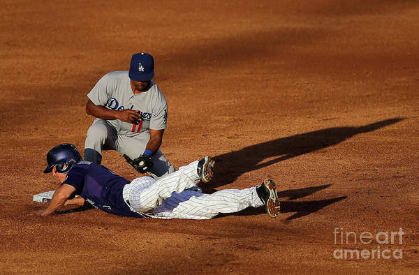 Game Two Art Print featuring the photograph Nick Hundley and Jimmy Rollins by Doug Pensinger