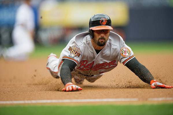 American League Baseball Art Print featuring the photograph Nick Markakis by Rob Tringali