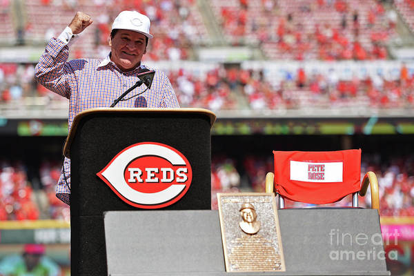 Great American Ball Park Art Print featuring the photograph Pete Rose by Jamie Sabau