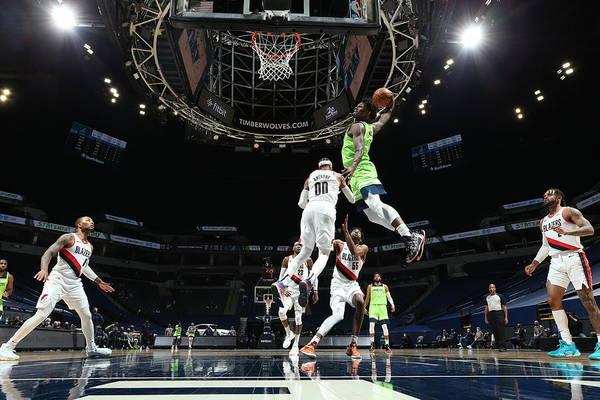 Nba Pro Basketball Art Print featuring the photograph Portland Trail Blazers v Minnesota Timberwolves by David Sherman