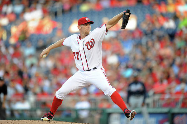 Second Inning Art Print featuring the photograph Stephen Strasburg by Mitchell Layton