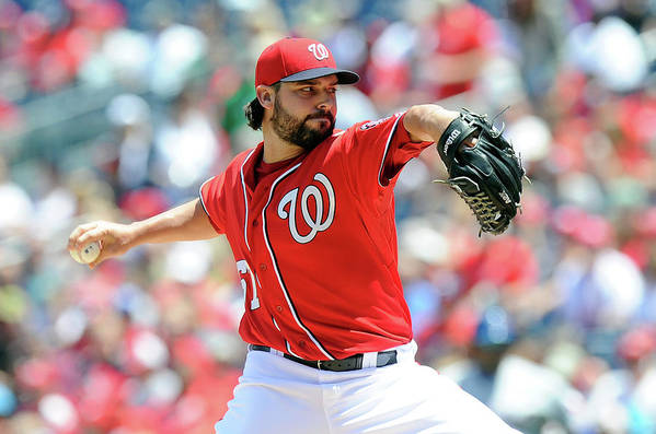 American League Baseball Art Print featuring the photograph Tanner Roark by Greg Fiume
