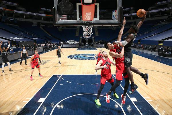 Nba Pro Basketball Art Print featuring the photograph Toronto Raptors v Minnesota Timberwolves by David Sherman