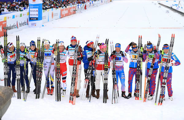 Skiing Art Print featuring the photograph Women's Cross Country Relay - FIS Nordic World Ski Championships by Richard Heathcote