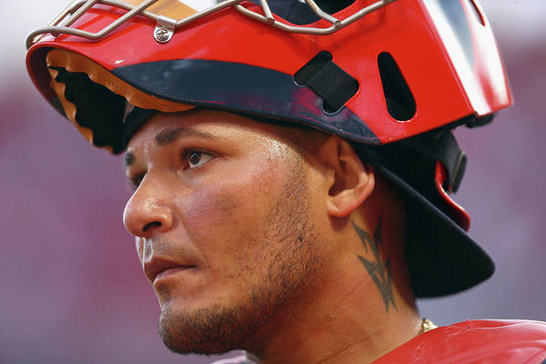 Great American Ball Park Art Print featuring the photograph Yadier Molina by Andy Lyons