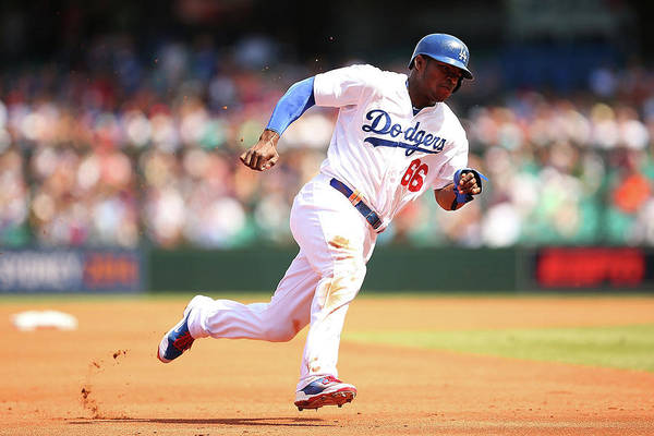 Los Angeles Dodgers Art Print featuring the photograph Yasiel Puig by Brendon Thorne