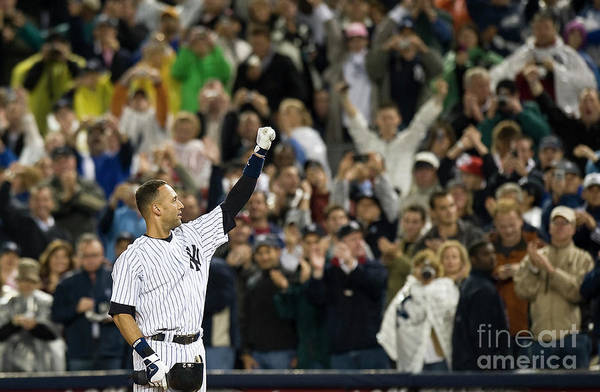 People Art Print featuring the photograph Lou Gehrig and Derek Jeter by Icon Sports Wire
