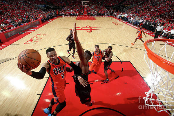 Playoffs Art Print featuring the photograph Russell Westbrook by Nathaniel S. Butler