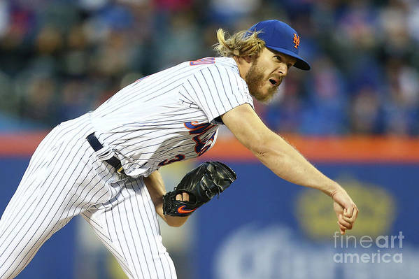 Three Quarter Length Art Print featuring the photograph Noah Syndergaard by Mike Stobe