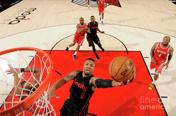 Nba Pro Basketball Art Print featuring the photograph Damian Lillard by Cameron Browne