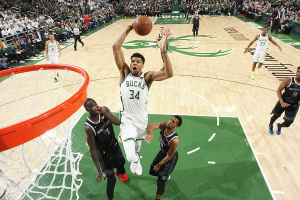 Playoffs Art Print featuring the photograph Giannis Antetokounmpo by Gary Dineen
