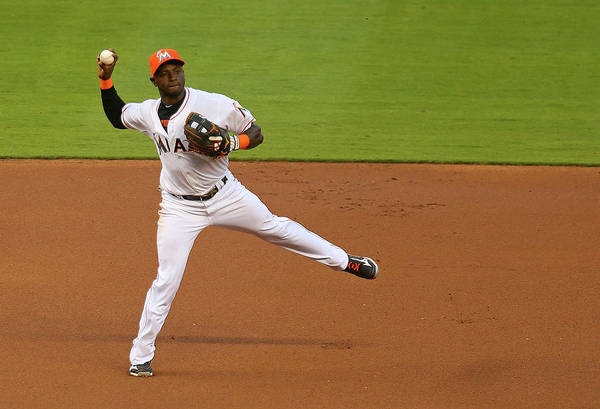 American League Baseball Art Print featuring the photograph Adeiny Hechavarria by Mike Ehrmann