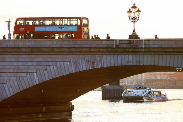 England Art Print featuring the photograph Commuters Use New High-Speed Catamaran Clippers Operated By MBNA Thames Clippers by Bloomberg