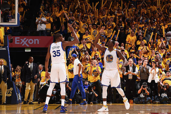 Playoffs Art Print featuring the photograph Draymond Green and Kevin Durant by Noah Graham