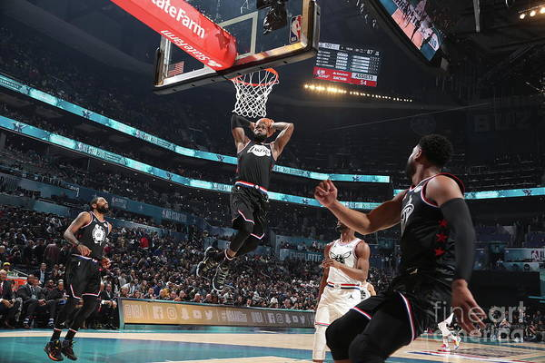 Nba Pro Basketball Art Print featuring the photograph Dwyane Wade and Lebron James by Nathaniel S. Butler