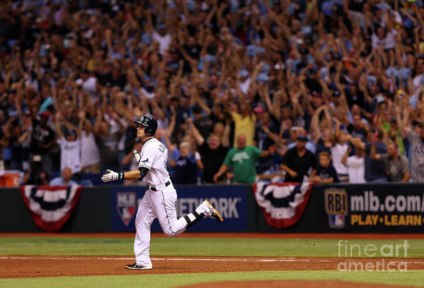 American League Baseball Art Print featuring the photograph Evan Longoria by Mike Ehrmann