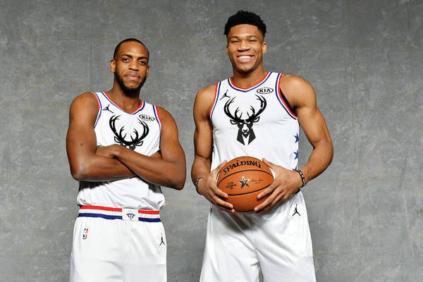Nba Pro Basketball Art Print featuring the photograph Giannis Antetokounmpo and Khris Middleton by Jesse D. Garrabrant