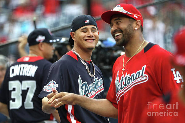 People Art Print featuring the photograph Manny Machado and Matt Kemp by Patrick Smith