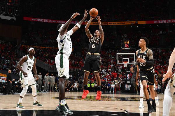 Atlanta Art Print featuring the photograph 2021 NBA Playoffs - Milwaukee Bucks v Atlanta Hawks by Jesse D. Garrabrant