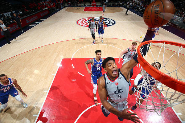 Playoffs Art Print featuring the photograph 2021 NBA Playoffs - Philadelphia 76ers v Washington Wizards by Stephen Gosling